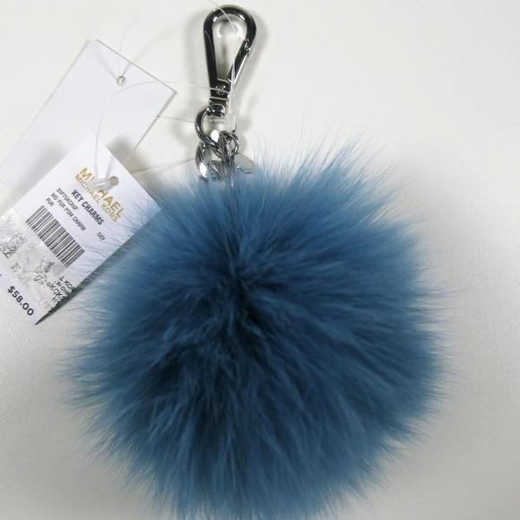 5393d44ea8c Michael Kors Real Fox Fur Pom Purse Charm Blue NWT